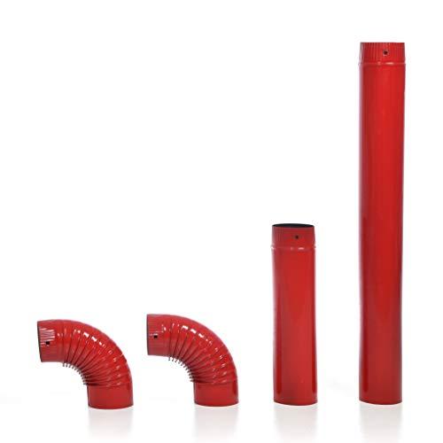 acerto 40568 Ofenrohr-Set, 120 mm Durchmesser - Emailliertes Rauchrohr für Kaminöfen (120 mm, rot)