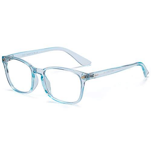 DUCO TR90 Rahmen Blaulicht Blockierbrille für Kinder Anti-Glare Gaming Computer Brille Brille für Jungen und Mädchen Alter 5-10 K028 (Transparentes Blau)