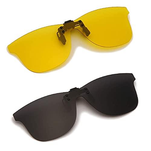 Long Keeper Clip Solaire Polarisées pour Lunettes De Myopes, 2 pièce Clip Lunettes de Soleil pour Femme Homme, Surlunettes de Soleil 100% Anti-UV400 (Gris + Jaune)
