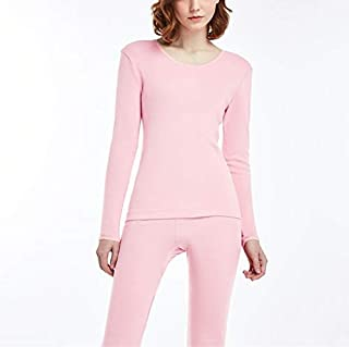 Jinqiuyuan Long Johns Men Women Thermal Underwear Set Cotton Solid Couple Winter Underwear Lightweight Thermo Underwear Clothing (Color : Pink, Size : M)