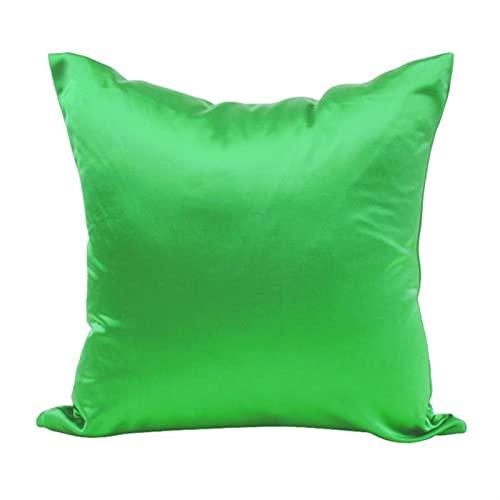 Cubierta de cojín de Color sólido Caso de Almohada de Seda Liso sofá Casa Decorativa de Almohada para el hogar Cubierta de cojín (Color : Pink)