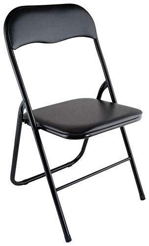 HERSIG - Silla Plegable | Silla Metalica Plegable - Color Negro