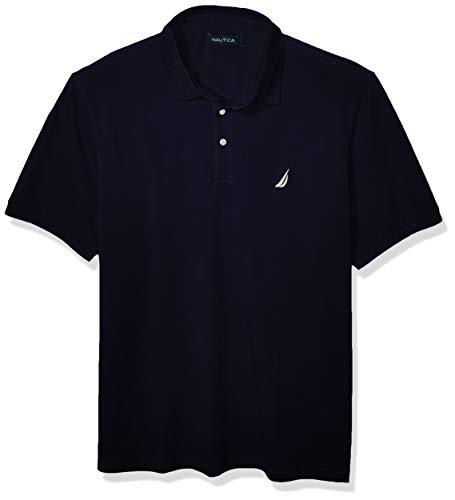 Nautica Men's Short Sleeve Solid Stretch Cotton Pique Polo Shirt, Navy, Medium
