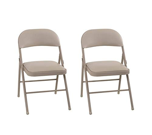 Cosco Vinyl, Antique Linen (2-pack) Folding Chairs, 2 Pack