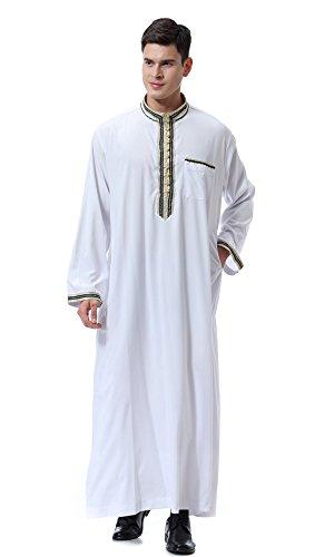 Dreamskull Herren Männer Muslim Abaya Dubai Muslimische Islamische Arab Arabisch Kleidung Kaftan Robe Pullover Kleider Maxi Kleid Indien Türkisch Casual Festlich (S, Weiß)