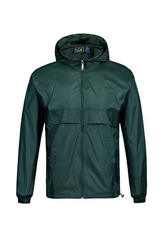 SwissWell Veste de pluie à manches longues pour homme - Imperméable et coupe-vent - À capuche - Coupe-vent - 100 % polyester, Homme, vert, EU-M/Label-L