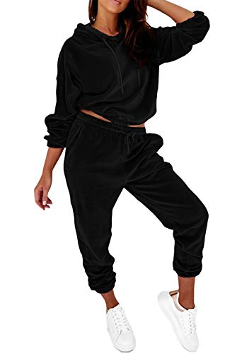 Solid Hoodies Velour Sweatsuits for Women Velvet Hooded Matching Joggers Sweatpants Tracksuit Lounge Sets Black L