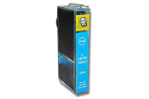 vhbw Cartucho de Tinta Cyan reemplaza Lexmark 100, 100 XL, 100 XLA, 100XL, 100XLA, 105XL, 108XL, 14N1068E, 105, 108 (Compatible)