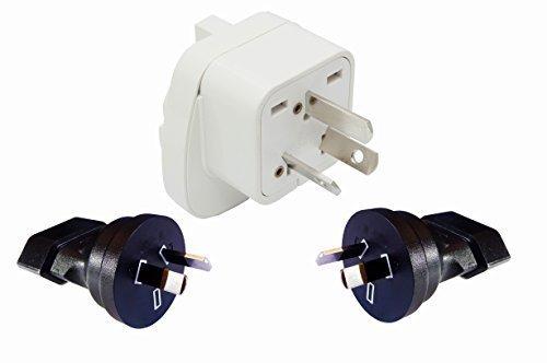 Australien & Neuseeland Set 3X Reisestecker Adapter   1x Typ I + 2X Typ I (2-polig) mit Schutzkontakt   Langlebiger Netzstecker für Steckdosen im Ausland   Qualitativ hochwertiger Stromadapter
