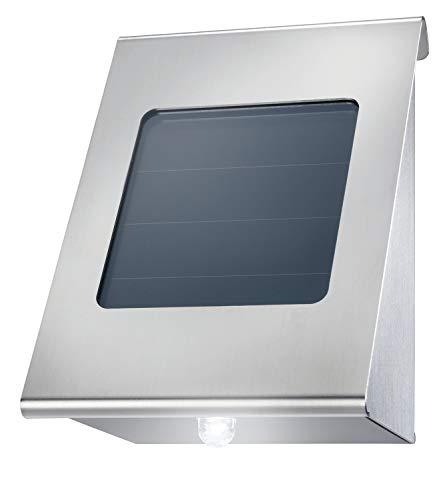 Solar Wandleuchte aus Metall - Lichtfarbe warmweiß 3000K + kaltweiß 6500K umschaltbar - 0,2 Watt Solarmodul für beste Aufladung - Solarstrahler Solarlampe Wandstrahler, esotec 102116