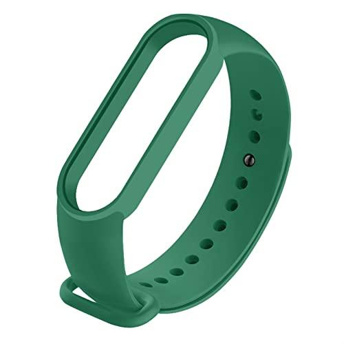 HEONYIRRY Correa for la Banda MI 5 6 Reemplazo TPU Correa Inteligente Reloj de Reloj Brazalete Suave Silicona Correas de Pulsera Deportiva Ajustable (Color : Green3, Size : For mi Band 5)