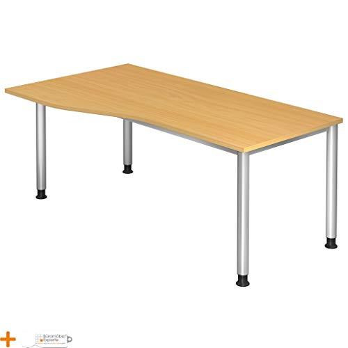 Schreibtisch Bürotisch Computertisch H 180 x 100 cm Freiform Buche Graualuminium