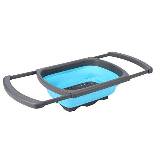 Práctica cesta de almacenamiento de alimentos Cesta de lavado Colador plegable de silicona Cesta de drenaje del fregadero plegable Agujero de drenaje fino para vajilla para el hogar