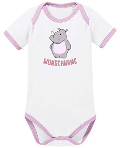 Comedy Shirts - Clipart Rhino - Wunschname - Baby Contrast Body - Weiss-Rosa/Rosa Gr. 50/56