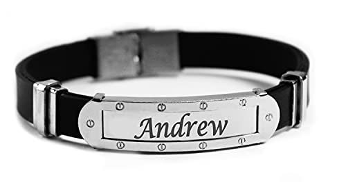 Pulsera con nombre ANDREW, pulsera personalizada de silicona y tono plateado grabada, regalo para hombres, cumpleaños, Navidad