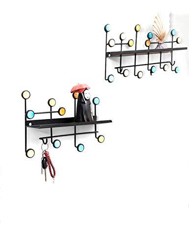 WSDSX Gymqian - Perchero de Pared de Color con partición, Perchero de Perchero Estante de Entrada Armario de baño Organizador de Armario de Cocina, 13 Ganchos, Ganchos nórdicos Modernos
