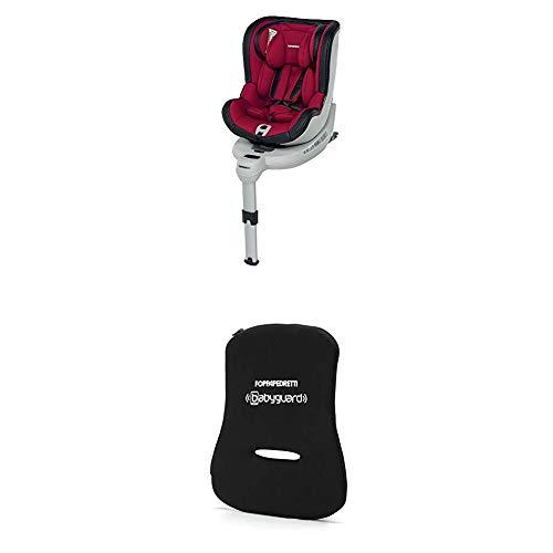 Foppapedretti Isokompass Seggiolino Auto, Gruppo 0+/1 (0-18 Kg) per Bambini da 0 a 4 Anni circa, Rosso Cherry + Dispositivo Antiabbandono, Nero
