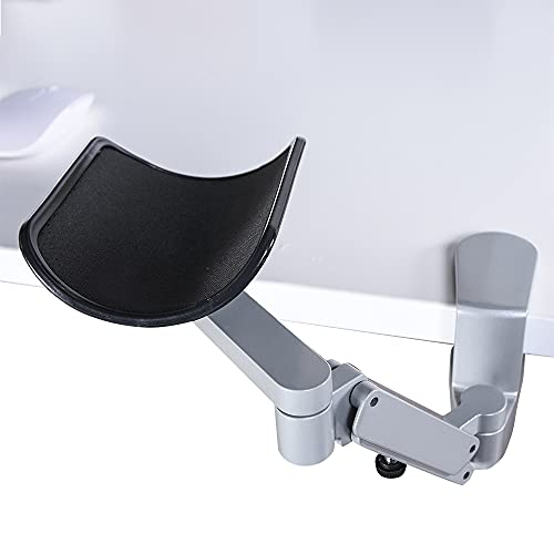 Frassie Universal Silver Clmap-on Desk Adjustable Armrest, Ergonomic Aluminum Arm Rest for Arm Support and Professional Gaming Computer Working
