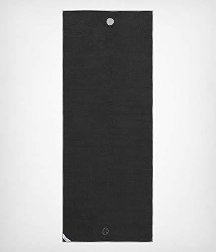 Yogitoes Manduka Yoga Towel for Mat Nonslip and Quick Dry for Hot Yoga with Rubber Bottom Grip Dots 72 Inch Long Onyx Thin and Lightweight (262023001)