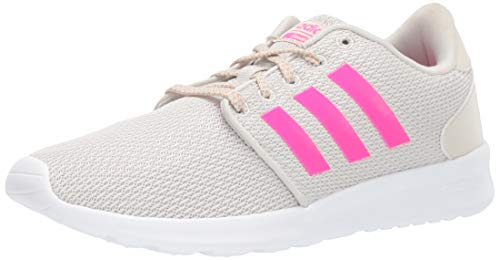 adidas Women's CloudfoamQT Racer Xpressive-Contemporary CloudfoamRunning Sneakers Shoes, White/Shock Pink/White, 8.5 Medium US