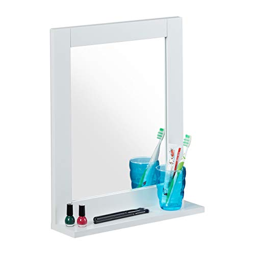Relaxdays Wandspiegel, mit Ablage, Bad, Wohnzimmer, Flur, eckig, modern, MDF, Badezimmerspiegel, HBT: 49x40x10 cm, weiß