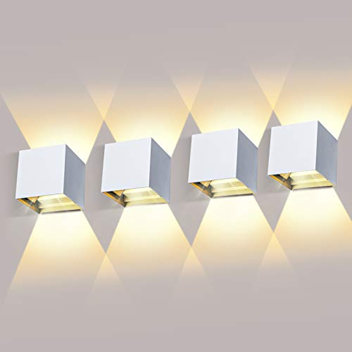 4 * 12W Aplique de pared exterior Blanco Cálido 3000K aplique exterior pared Impermeable IP65
