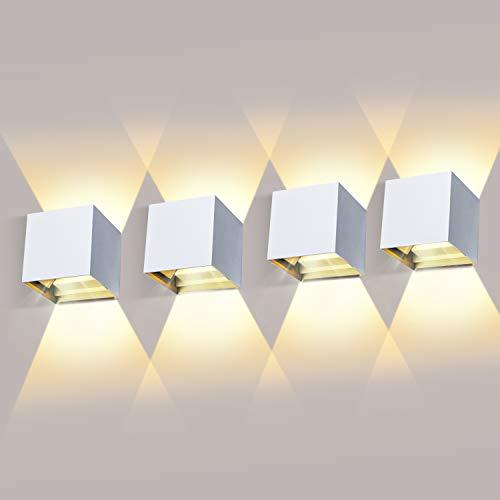 LEDMO 4 Pezzi Lampada da Parete 12W LED Moderno Applique da Parete Interno/Esterno Bianco Caldo 3000K Lampada da Muro Angolo del Fascio Regolabile Applique IP65 Impermeabile Bianco