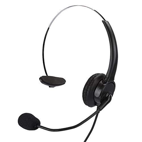 Denash Auricular con Micrófono, Teléfono Auricular Monoaural Teléfono Fijo Auricular con Micrófono para Uso en la Oficina Doméstica Plug and Play