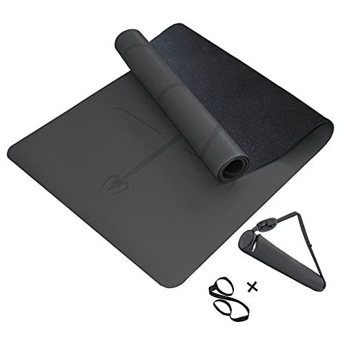 MINCHEDA Esterilla de Yoga con Alineación Antideslizante para Colchoneta Camping, Deporte en Casa, Pilates, 183 * 68 * 0.5cm