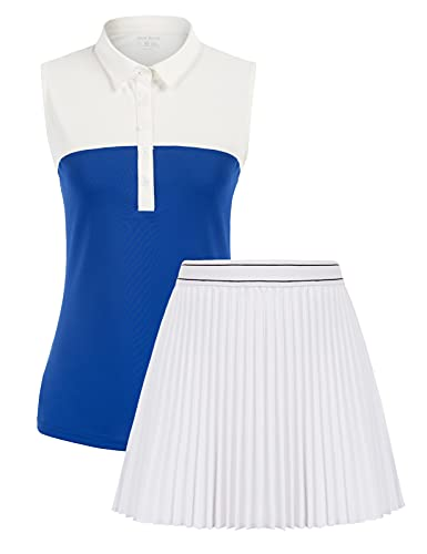 Golf Suits for Women Sleeveless Quick Dry Shirt and Tennis Running Pockets Skort 2Pcs Outfits Set (Blue&White,M)