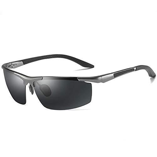 KK Timo Gafas De Sol Polarizadas Deportes Gafas De Sol for Montar Al Aire Libre Viajar Conducir Gafas De Sol Pretección UV Hombres/Mujeres Marco De Metal Ultra Ligero (Color : Black+Gray)