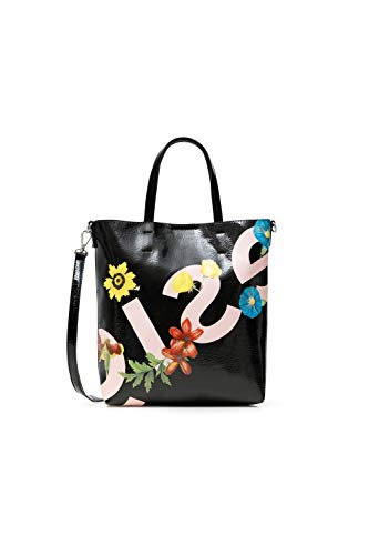 Desigual PU Shopping Bag, Bolsa de la Compra para Mujer, Negro, U