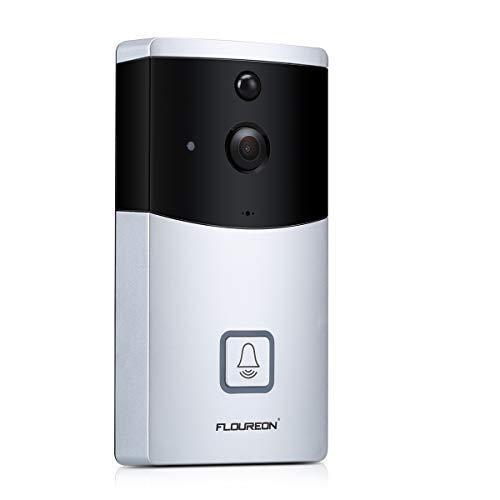 FLOUREON Video-Türklingel, Video-Türklingel 720P HD WiFi-Kamera PIR-Bewegungserkennung Walkie-Talkie 166 ° Infrarot IR Nachtsicht IOS/Android-Anwendung (Silber)