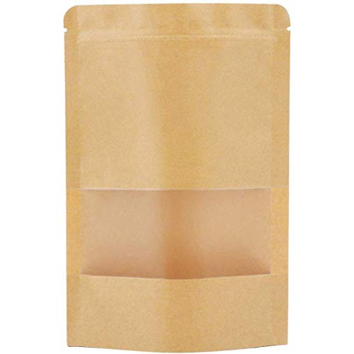 """Self Sealing Paper Bags,Kraft Stand up Pouches with Window,Zip Lock Coffee Bags with Window,Kraft Airtight Bags Kraft Food Packaging Bag Zip Lock Paper Pouches (Pack of 50) (50pcs, 3.5"""" W x 5.5"""" H)"""
