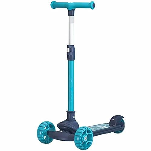 LJHBC Patinete Scooter de 3 Ruedas para niños, Mango de Altura Ajustable para niños y niñas Ruedas de luz LED para niños de 3 a 14 años (Azul)(Color:Azul)