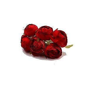 6 Piece Rose Bud Artificial Flower Bridal Bouquet Brooch Silk Artificial DIY Material Crown Decorative Wreath Head 3