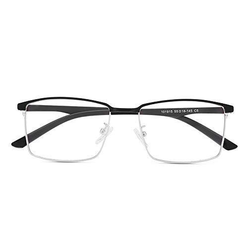 SHENSHI Gafas Luz Azul,Moda Unisex Concisa Montura De Metal Unisex Gafas De Bloqueo De Luz Azul, Antideslumbrante, Material De Oficina para Estudiantes, Negro Y Plateado