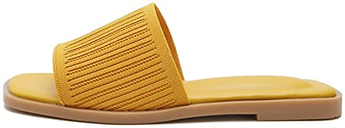 of forever women slippers CAETNY Women's Flat Sandals Slippers Large Size Simple Square Leak-Toe Flying Knitted Upper TPR Sole Suitable for Indoor and Outdoor Leisure Beach (5 Colors)