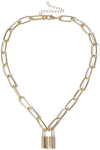 Aluyouqi Co.,ltd Halsband halsband halsband punk enkelt hänglås hänge halsband mode halsband för kvinnor metall geometriskt uttalande halsband smycken för kvinnor män gåva
