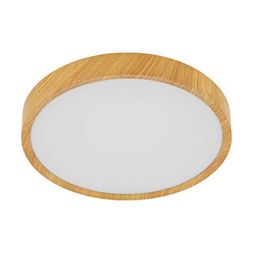 EGLO LED Deckenleuchte Musurita, 1 flammige Deckenlampe, Wohnzimmerlampe Modern, Küchenlampe aus Stahl und Kunststoff, Flurlampe Decke in Holz-Optik, Weiß, Ø 34 cm
