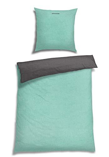 Schiesser Feinbiber Wendebettwäsche Doubleface, 100% Baumwolle, Farbe:Mint, Größe:135 cm x 200 cm