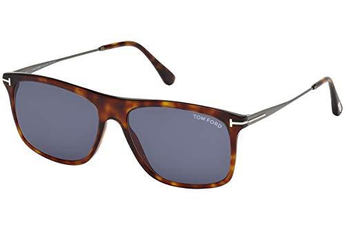 Tom Ford Unisex-Erwachsene FT0588 54V 57 Sonnenbrille, Braun (Avana Rossa/Blu)