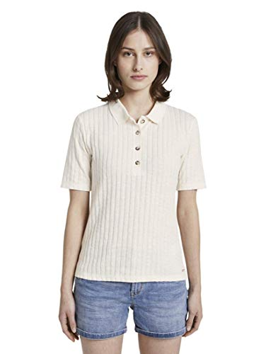 TOM TAILOR Denim Damen Poloshirts Polo-Shirt in RIPP-Optik Gardenia White,L