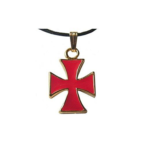 Equinoxis Colgante de cruz templaria esmaltada roja