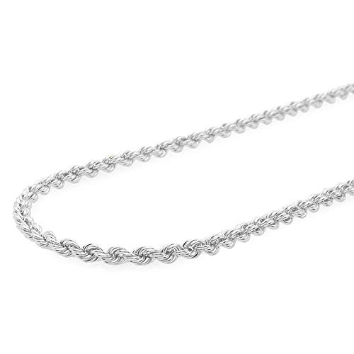 Verona Jewelers Sterling Silver 4MM Italian Diamond-Cut Rope Chain Necklace for Men - 925 Braided Twist Italian Necklace, (22)