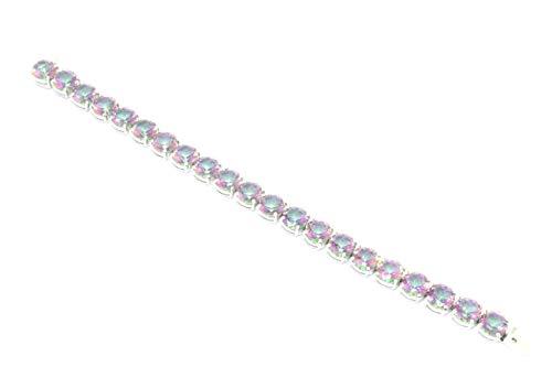 Rajastán Gems Pulsera hecha a mano de plata de ley 925 con topacio místico arcoíris