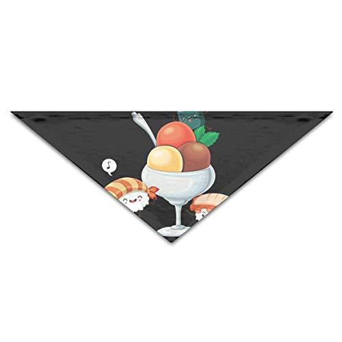 Gxdchfj Hundebandana-Schal-Dreieck-Schellfisch-Sushi mit Frucht-Kopftuch, Katzen-Geburtstags-Zusätze