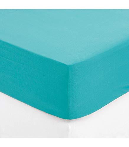 Maison Futée - Drap housse 1 personne 90x190 cm 100% Coton - Turquoise
