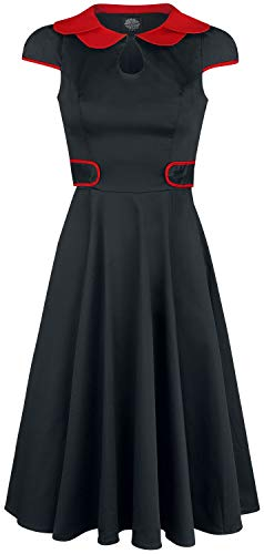 H&R London Black Peter Pan Collar Swing Dress Mittellanges Kleid schwarz/rot M