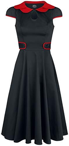 H&R London Black Peter Pan Collar Swing Dress Mittellanges Kleid schwarz/rot M